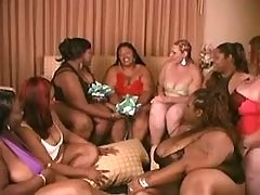 Fat interracial lesbians have fun