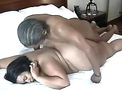 Guy hard fucks fat black whore in bed
